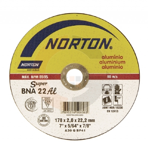 Disco de corte Super Alumínio 7 pol. x 2.0mm BNA 22 Norton