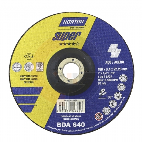 Disco de desbaste Super Aços 7 pol. x 6.4mm BDA 640 Norton