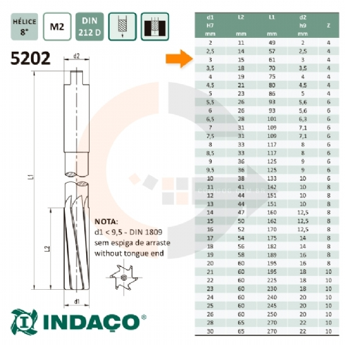 Alargador_Maquina_3mm_Canal_Helicoidal__Din_212_D__Indaco