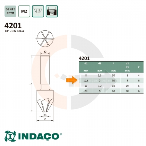 Escareador_12.5_x_60_graus___corte_a_direita__haste_cilindrica__DIN_334_A__Indaco